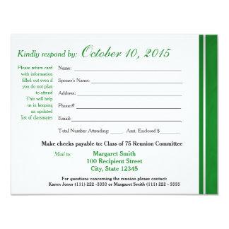 "Class Reunion Varsity Stripe Response Card 4.25"" X 5.5"" Invitation Card"