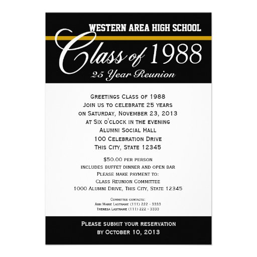 Class Reunion with Color Accent Personalized Announcement