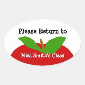 Class Room ID Label Please Return Oval Sticker