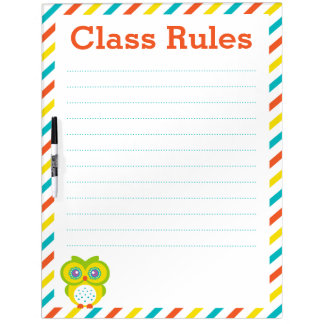 Class Rules - Owls Dry-Erase Board