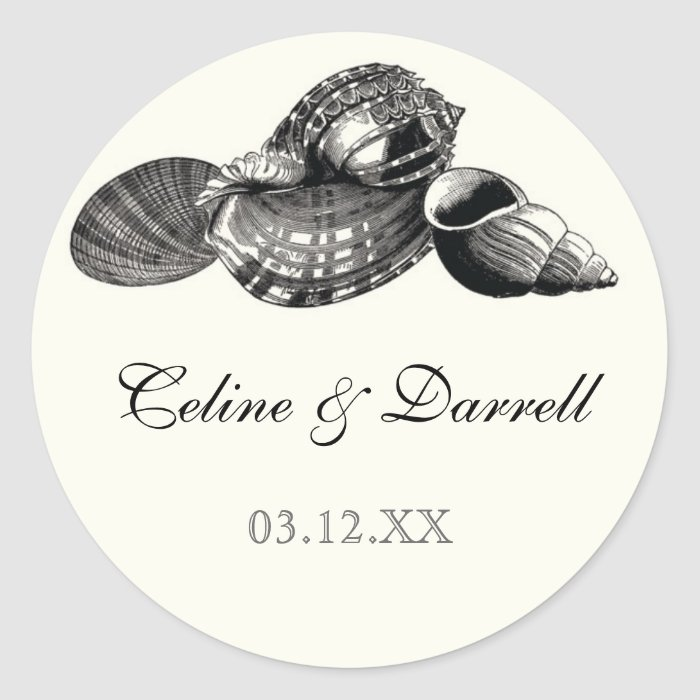 Class Shells Black n Cream Wedding Sticker or Seal