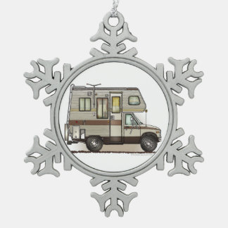 ClassC Camper RV Magnets Snowflake Pewter Christmas Ornament