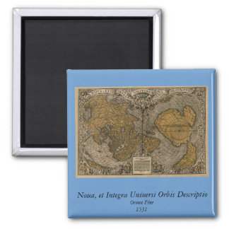 Classic 1531 Antique World Map by Oronce Fine 2 Inch Square Magnet