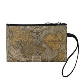 Classic 1531 Antique World Map by Oronce Fine Coin Wallet