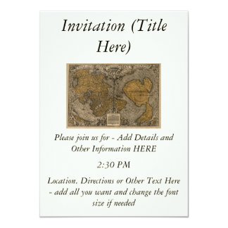Classic 1531 Antique World Map by Oronce Fine 4.5x6.25 Paper Invitation Card