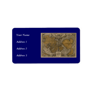 Classic 1531 Antique World Map by Oronce Fine Personalized Address Label