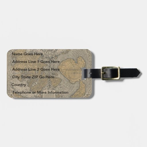 Classic 1531 Antique World Map by Oronce Fine Tags For Bags