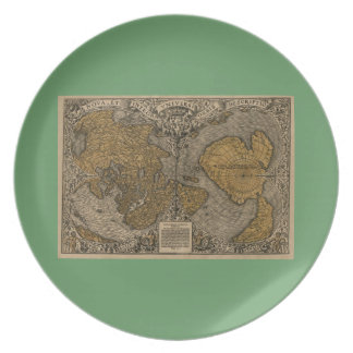 Classic 1531 Antique World Map by Oronce Fine Melamine Plate