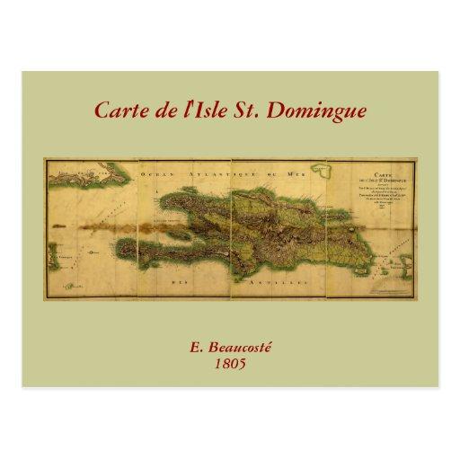 Classic 1805 Antiquarian Map of Hispaniola Postcard