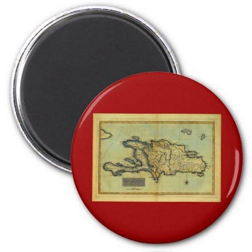 Classic 1823 Antiquarian Map of Hispaniola & Haiti 2 Inch Round Magnet