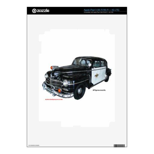 Classic_1947_Plymouth_Police_Car_Texturized iPad 3 Skin
