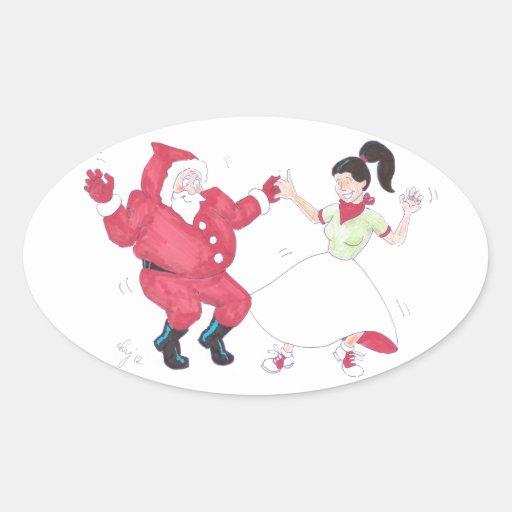 Classic 1950s Jive Dancing Christmas Oval Sticker