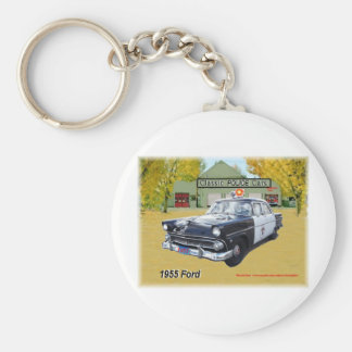 Classic 1955 Ford Police car Basic Round Button Keychain