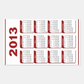 Classic  2013 Calendar Rectangular Sticker