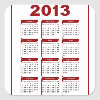 Classic  2013 Calendar Square Sticker