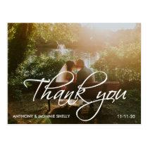 Classic 2 Photo Wedding Thank You Script Postcard