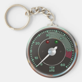 Classic 356 rev counter, old air-cooled sports car basic round button keychain