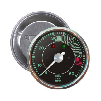 Classic 356 rev counter, old air-cooled sports car pinback button