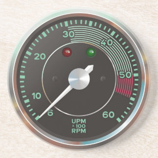 Classic 356 rev counter, old air-cooled sports car sandstone coaster