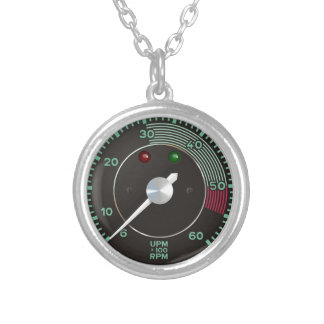 Classic 356 rev counter, old air-cooled sports car silver plated necklace