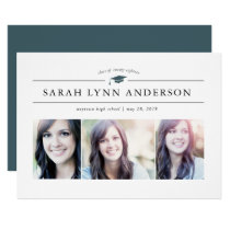 Classic 3 Photo Graduation Invitation