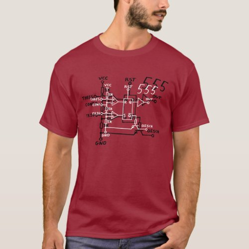 Classic 555 Timer Chip Schematic Circuit T_Shirt