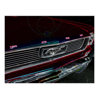Classic 60s Muscle Car Abstract Poster