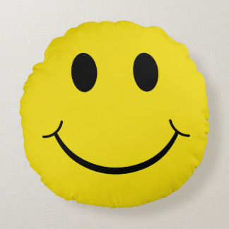 Classic 70's Smiley Happy Face Round Pillow