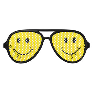 Classic 70's Yellow Smiley Happy Face Aviator Sunglasses