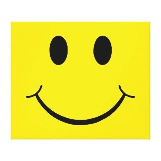 Classic 70's Yellow Smiley Happy Face Canvas Print
