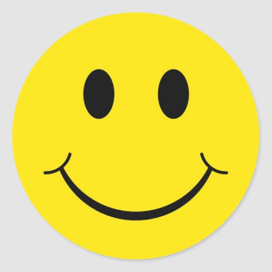 Classic 70's Yellow Smiley Happy Face Classic Round Sticker