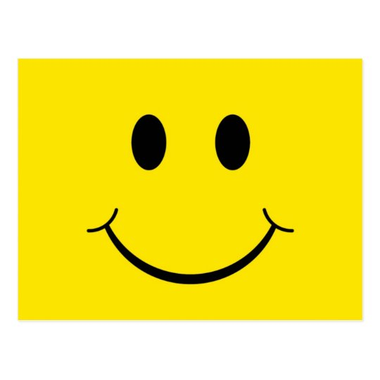 Classic 70's Yellow Smiley Happy Face Postcard