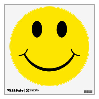 Classic 70's Yellow Smiley Happy Face Wall Decal