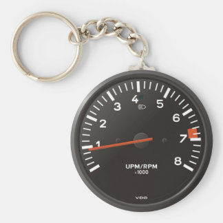 Classic 911 rev counter (old air-cooled car) basic round button keychain