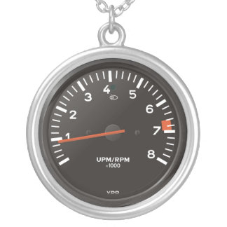 Classic 911 rev counter (old air-cooled car) round pendant necklace