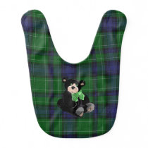 Classic Abercrombie Plaid with Teddy Bear Baby Bib