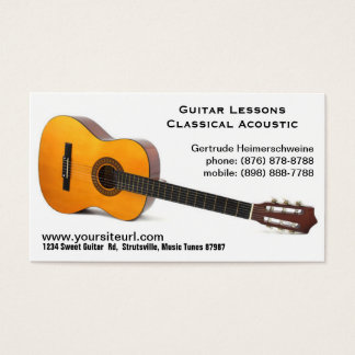 Classic Acoustic Guitar Photo - Music Lessons Business Card