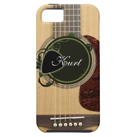 classic acoustic guitar with custom monogram name case mate iphone case. Black Bedroom Furniture Sets. Home Design Ideas
