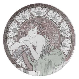 Classic Alphonse Mucha Goddess Plate