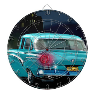 Classic American 50'S Style Automobile. Dartboard With Darts