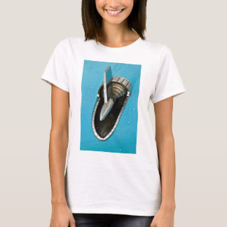 Classic American Car Fin Tee Shirt Ladies Fitted