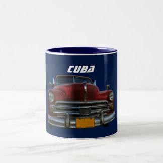 Classic American car in Havana, Cuba coffee mug