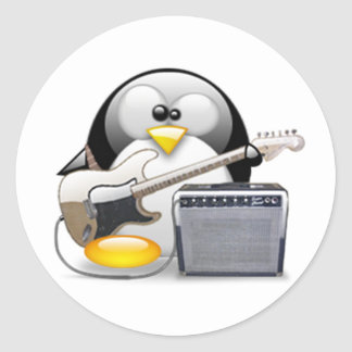 Classic American Guitar and Amplifier Tux Classic Round Sticker