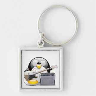 Classic American Guitar and Amplifier Tux Silver-Colored Square Keychain