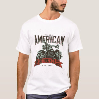 Classic American Motorcycles Chopper Color Style T-Shirt