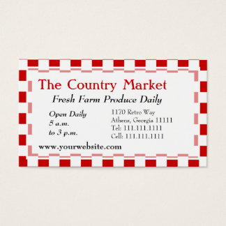 Classic American Red and White Farm House Gingham Business Card
