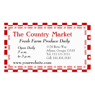 Classic American Red and White Farm House Gingham Double-Sided Standard Business Cards (Pack Of 100)