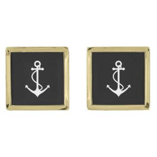 Classic Anchor Black and White Nautical Design Gold Cufflinks