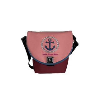 Classic Anchor Personalized Small Messenger Bag