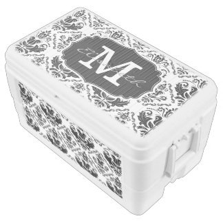 Classic and Chic Black White Damask Monogram Name Cooler